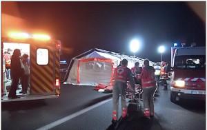 Exercice Orsec sur l'A10, photo Croix rouge française